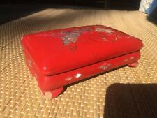Red Lacquer Ware Box inlay of mother of pearl