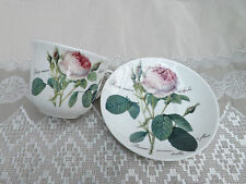 Redoute rose Chatsworth breakfast cup and saucer Roy Kirkham  displayed only