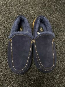 Mens UGG Ascot slippers Navy/tan Size 8