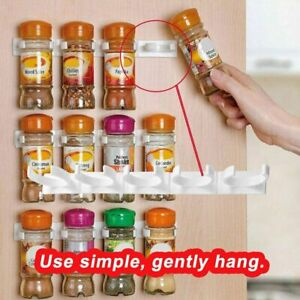 20—Clips Kitchen Spice Gripper Strip Jar Rack Storage Holder Wall Cupboard DokY