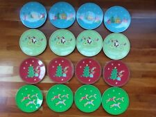 Pottery Barn Kids Christmas Holiday Melamine Plastic Plate Reindeer Santa Set 16