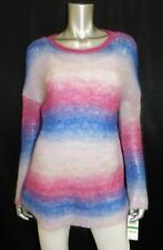 INC NWT Blue/Purple Fuzzy Mohair Blend Knit Scoop Neck Pullover Sweater sz L $79