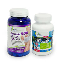 FORSKOLIN Coleus + CLEAR COLON Cleanser Smooth Laxative Herbal Toxin Detox Combo