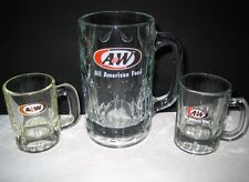A&W Root Beer Vintage 60's Heavy Glass Bar Soda Pop Mugs 1 Large 2 Mini Lot of 3