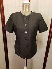 Kasper Dark Grey Petite Short Sleeve Button Down Blazer Women's Size 8P