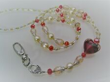 Handmade Lanyard/Badge/ID Card Retainer Chain - Silver, Champagne, Red