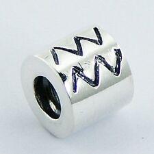 Silver bead zodiac Aquarius 9mm diameter 925 sterling for charm bracelet fashion