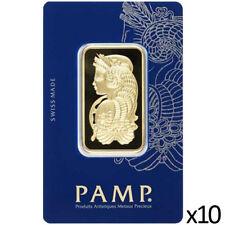 10 x 1 oz Gold Bar PAMP - Lady Fortuna Design & VeriScan - PAMP Suisse