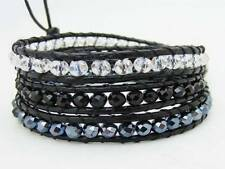 3 Wrap Bracelet all 4mm CRYSTAL beads Real leather  fashion bracelet