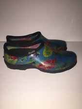 SLOGGERS Womens Rain and Garden Shoe 'Teal Pansy' Print Size 9