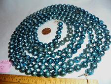 "Christmas Garland Mercury Glass Blue 92"" Long 3/8"" Beads #D316 Vintage"