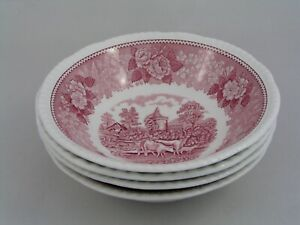 """SET OF FOUR ADAMS ENGLISH SCENIC PINK 6 1/4"""" CEREAL BOWLS."""