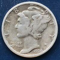 USA 1936 Mercury Dime Philadelphia 10 Cent Silber Selten Gute Erhaltung #10152