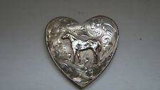 """Sterling Silver Smith Incline Nev. Heart  Buckle 1 1/2""""  with new belt"""