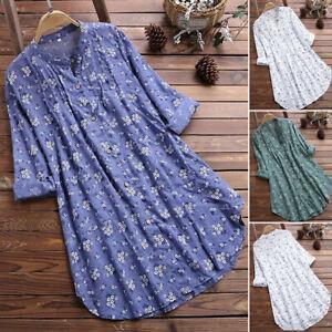 Women Long Sleeve Flower Blouse Tops Ladies Cotton Linen Shirt  Dress Size S-5XL