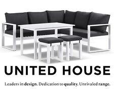 Outdoor White Aluminium Modular Lounge Sofa Couch Table Garden Furniture Setting