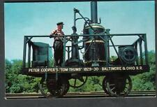 train post card Tom Thumb replica Baltimore and Ohio transportation Museum MD