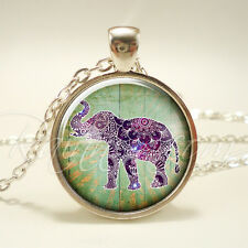 Bohemian Purple Elephant Necklace, Gypsy Pendant, Boho Jewelry (1880S1IN)