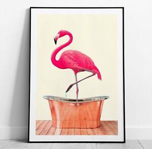 Flamingo in Bath Art Print, Flamingo Poster, Home Decor Wall Art