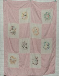 Vintage Hand-Stitched Baby Quilt Pink Gingham with Baby Animals 40 x 54