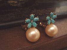 Vintage B&W Aquamarine Blue Crystal, Turquoise Flowers & Pearl Clip Earrings
