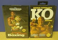 Evander + George Foreman's KO Boxing - Sega Genesis Working Tested 2 Game Lot