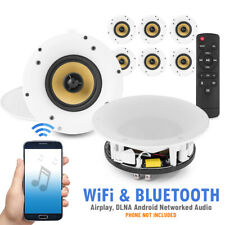 More details for amplified wi-fi bluetooth ceiling speakers (x8) multi room network smart control