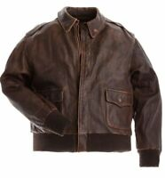 A2 Flight Bomber Men's Aviator Pilot Vintage Distress Brown Cow Leather Jacket