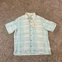 Caribbean Men Sz LPure Silk Hawaiian Shirt Short Sleeve Button Up Blue Plaid $80
