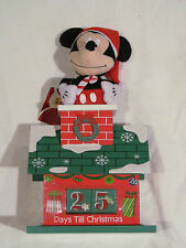 "New Disney 11"" Christmas Plush Mickey In Wood Chimney Countdown Calendar"
