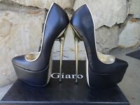 Giaro Ultra Fetish Extreme Platform Pumps Black Leather EU size 39