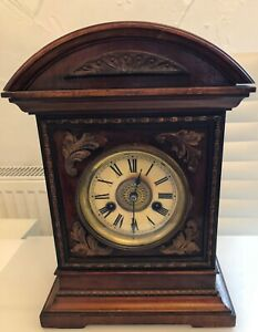 Antique HAC wooden mantel clock with 14 day strike
