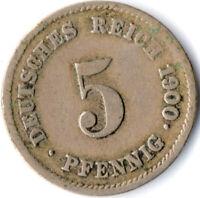 COIN / GERMAN EMPIRE / 5 PFENNIG, 1900   #WT3072
