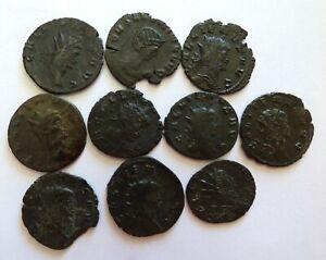Group of 10 Roman Coins Emperor Gallienus AD 253 - 268 Mixed Animal Reverses