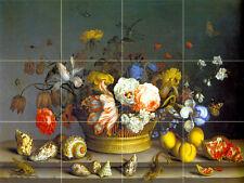 24 x 18 Art Basket Flowers Mural Ceramic Backsplash Bath Tile #265