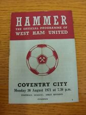 30/08/1971 West Ham United v Coventry City  (Crease, Fold). Thanks for taking th