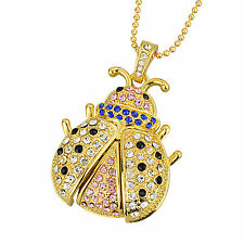 8G Gold Crystals Necklace Jewelry Pendant USB Flash Memory Pen Drive Bug U Disk