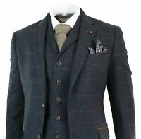 Mens Herringbone Tweed Navy Blue Check 3 Piece Wool Suit Peaky Blinders Tan