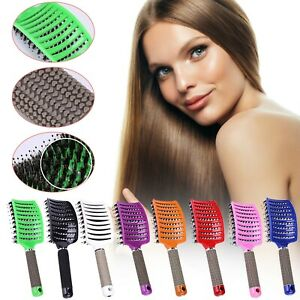 Womens Natural Boar Bristle Detangling Nylon Brush Large Curly Hair Style Tools