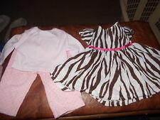 "18"" Doll Handmade Retired Doll Clothes Animal Print Dress/Dot Cord Pants & Tee"