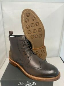 Mens John White Northamptonshire Brogue Lace Up Dark Brown Leather Boots Uk 8 42