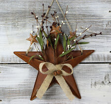 Barn Star Wall Decor Basket with Pip Berries Burlap 12 inch Rusty Tin Primitive