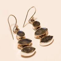 Fire Labradorite Gemstone 925 Sterling Silver Earring Handmade Fashion Jewelry