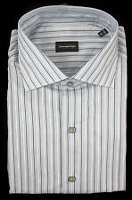 ERMENEGILDO ZEGNA Gray Striped Classic Fit Button Front Shirt 44 XL 17 NWT $375