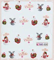 Christmas Glitter Santa Snowman Snowflake Xmas Water Transfer Sticker Decal
