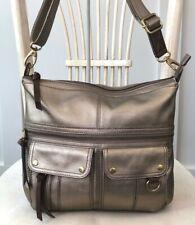 FOSSIL Morgan Large Metallic Gold Leather Traveler Crossbody Messenger Purse Bag
