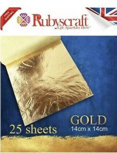 Gold Leaf 100% Genuine 25 sheets - Large Craft and Arts 14cmx14cm