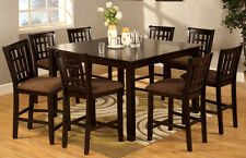 Dining Room Furniture in Espresso Counter height Set Dining Table w/ 8 Chairs