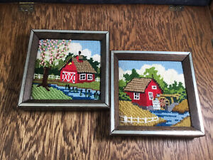 2 Vtg Finished Barn Crewel Framed Country Farm Farmhouse Needle Art  Hand Made