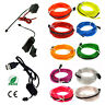 2M 10M LED Flexible Neon Light Glow EL Strip Tube Cool Wire Rope Home Car Decor